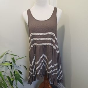 Free People Brown Voile and Lace Trapeze/dress
